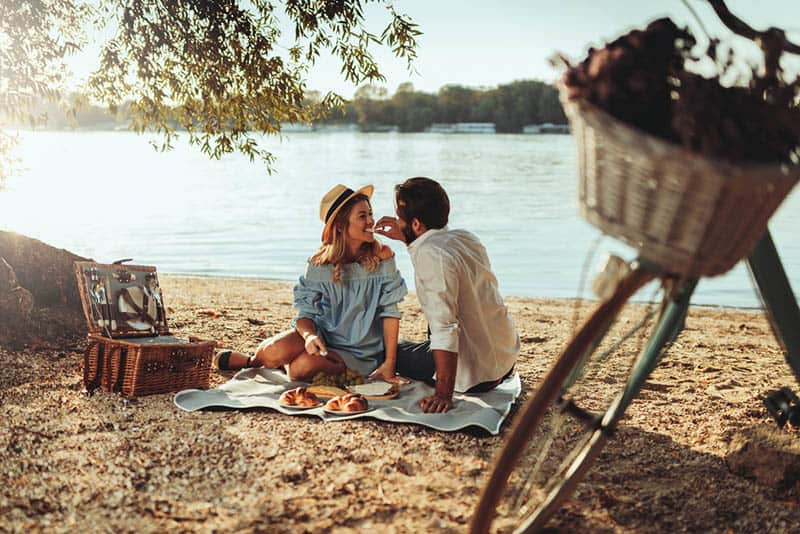 couple in love enjoying the picnic time