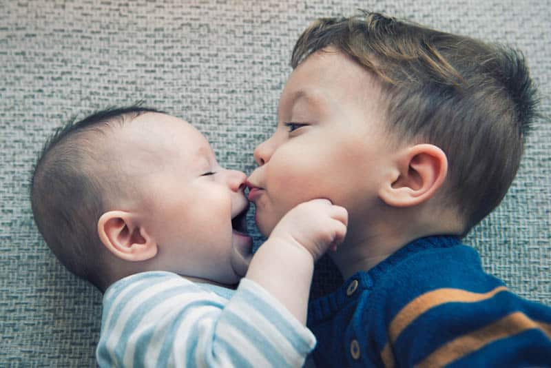 cute little boy kissing his baby brother in nose