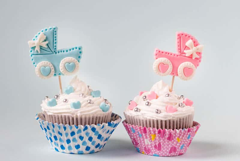 delicious cupcakes for baby boy and a girl