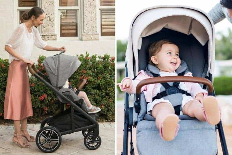 mother with baby in nuna mix stroller outdoor