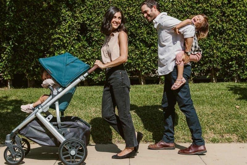 parents with children in park