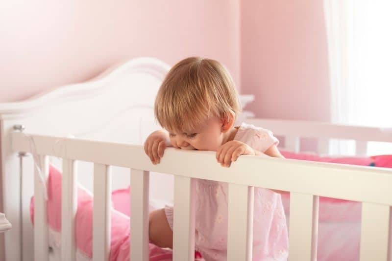 two year old toddler standing in her crib