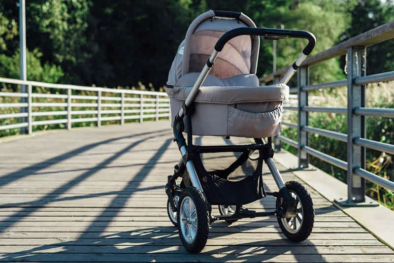 Baby stroller on running path in park at sunny day