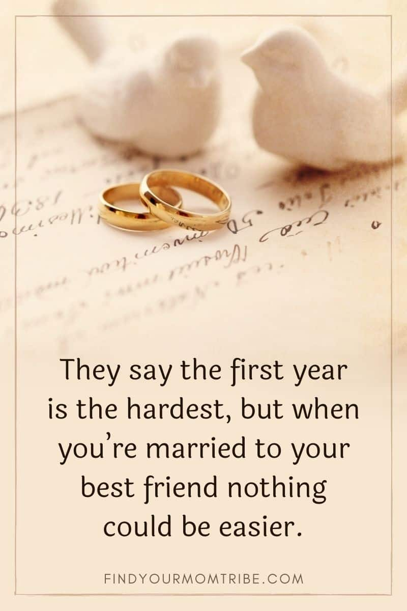 One year anniversary quote on a beige backround with wedding rings and two doves
