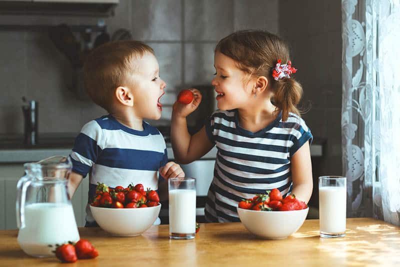 cute little girl feeding brother with strawberry