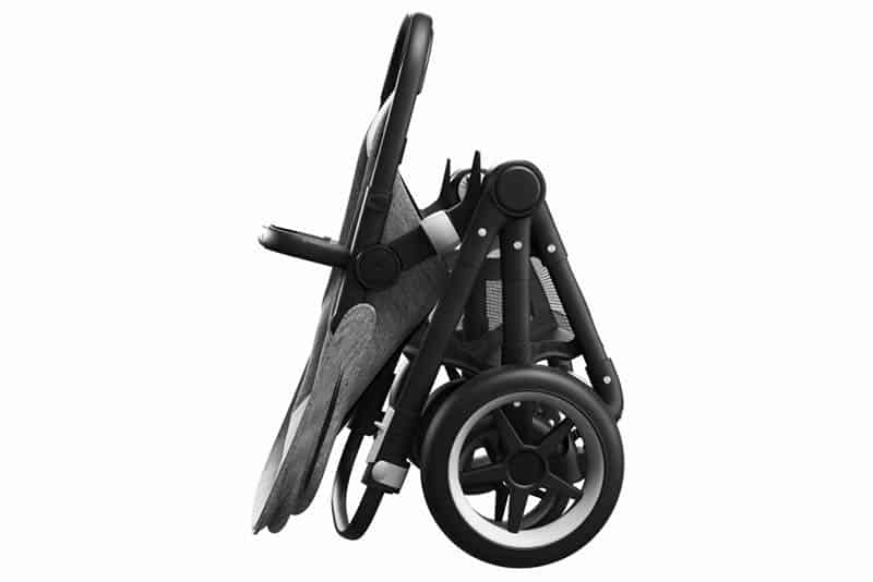 folded modern black strollers