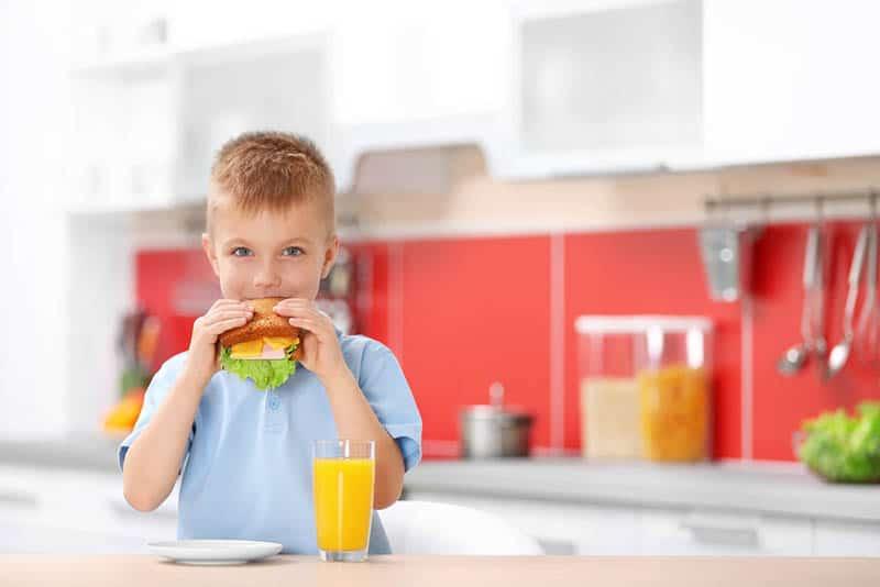 little boy eating a sandwich in the kitchen