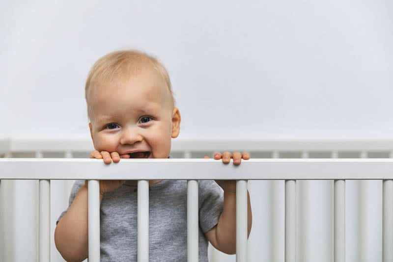 smiling toddler standing in the bed and holds by the cot rails