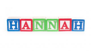 Toy blocks spelling out the name Hannah