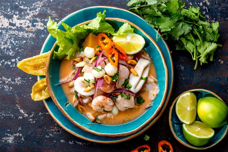 Peruvian seafood and fish sebiche with maize on the table