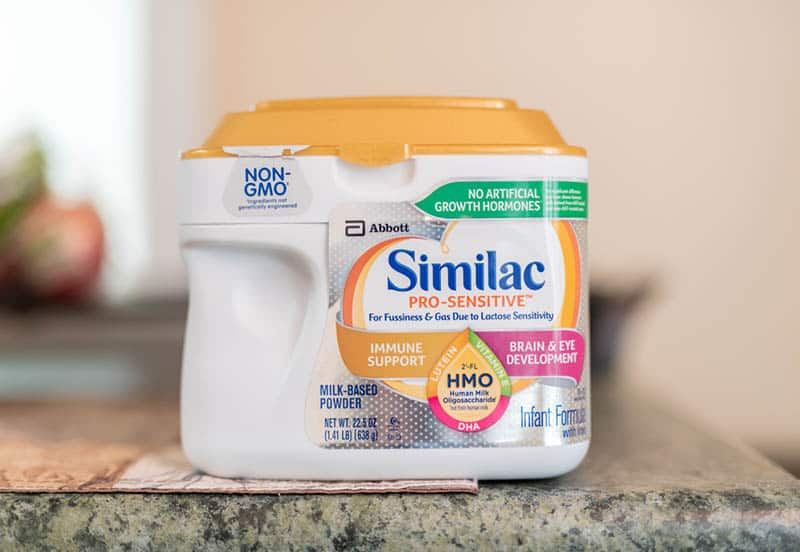 Similac baby formula on kitchen counter
