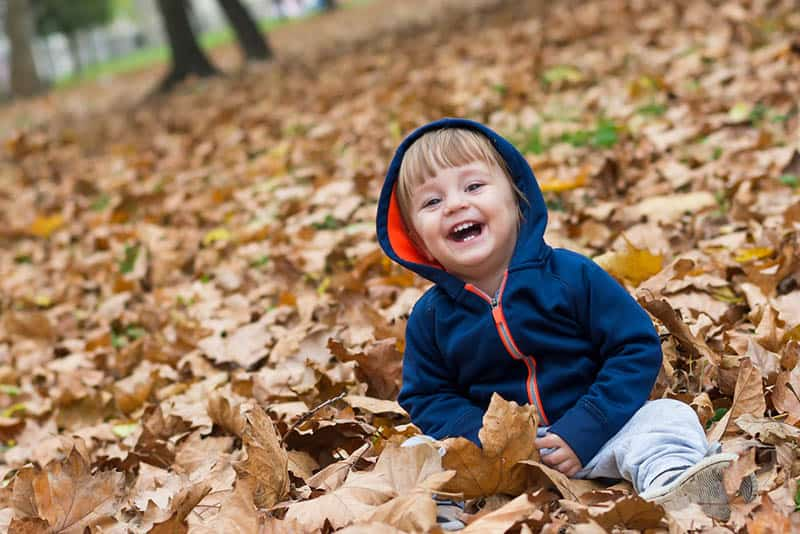 adorable baby boy laughing and playing in the autumn leaves