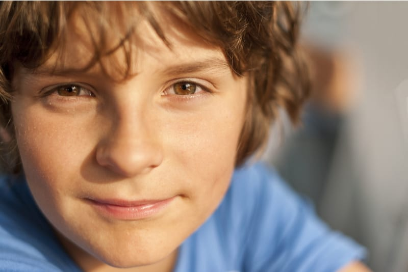 cute little boy with brown eyes