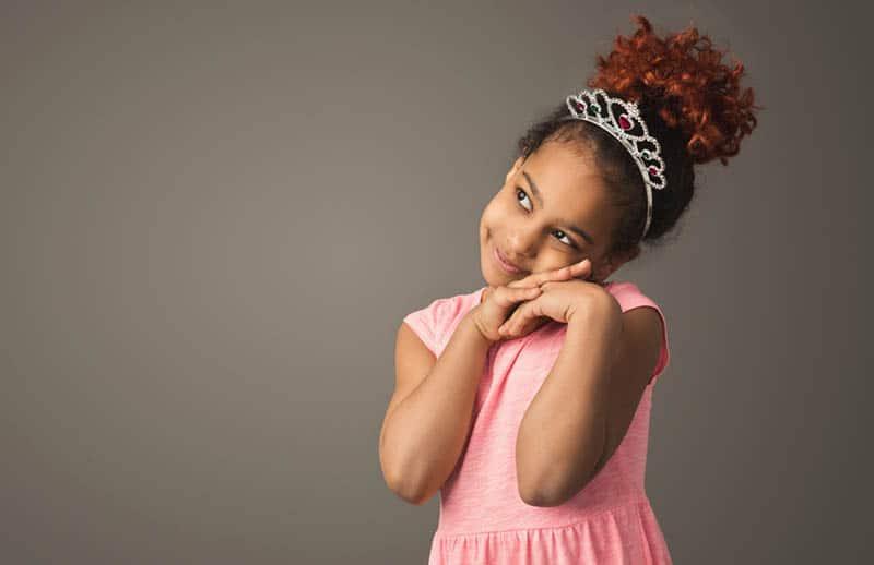 cute little girl wearing a crown