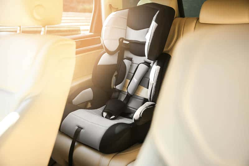 safety seat for baby installed in car