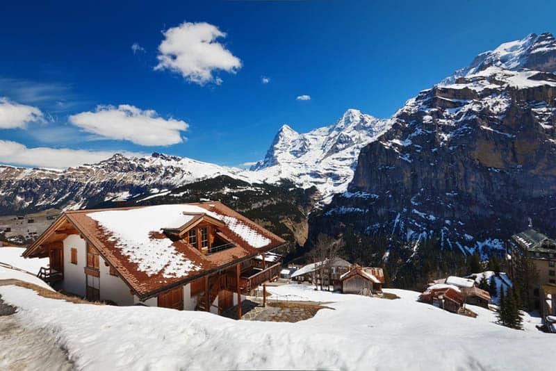 ski lodge in snow on the mountain