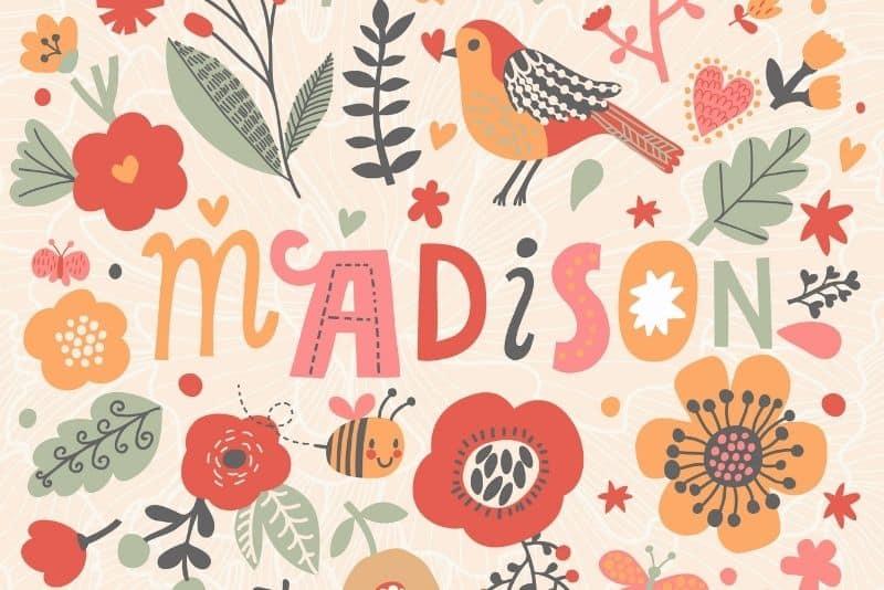 colorful illustration af a girl name Madison