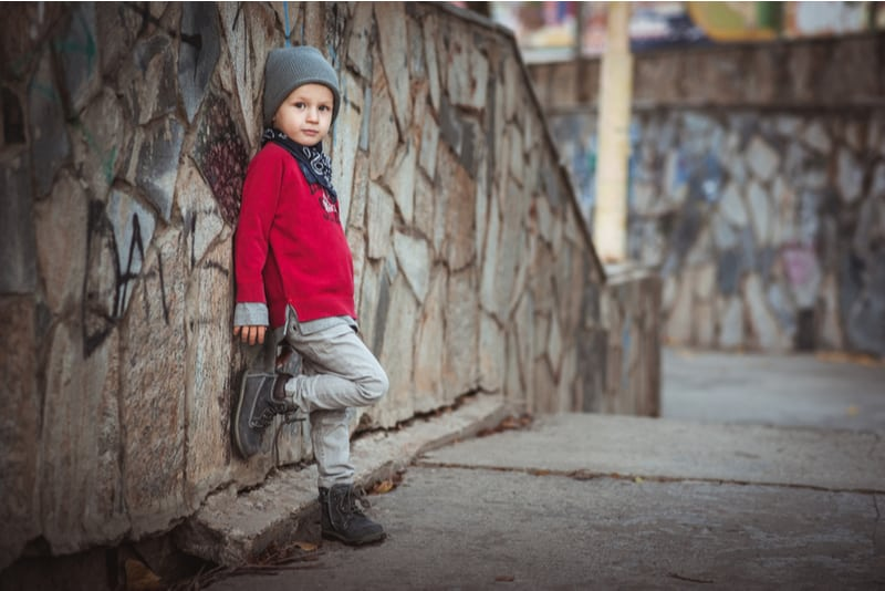 Little kid boy in fashionable clothes