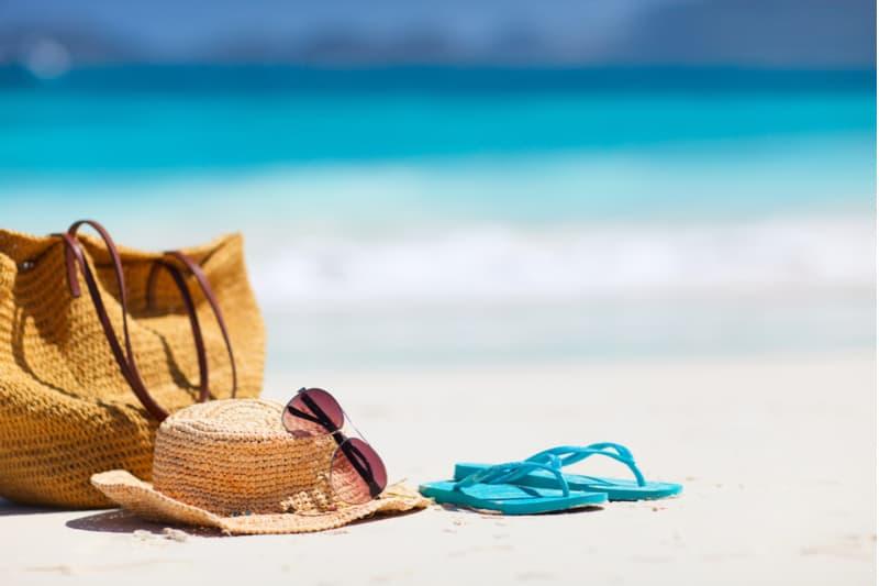 beach bag on a tropical beach