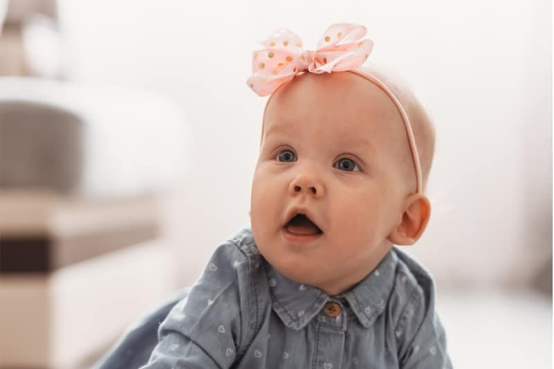 beautiful baby girl at home