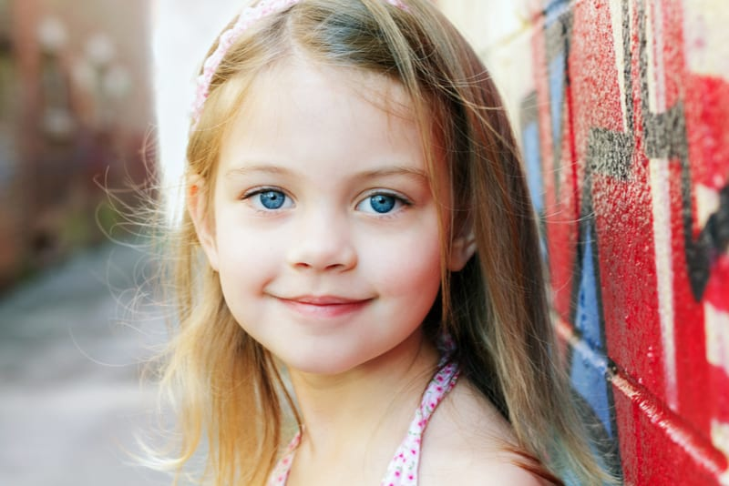 beautiful little girl with blue eyes