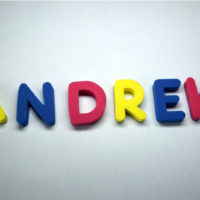 the name Andrew spelled out with colorful letters