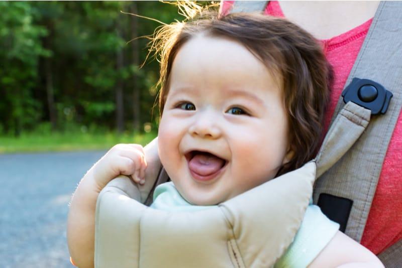 Happy baby boy outside