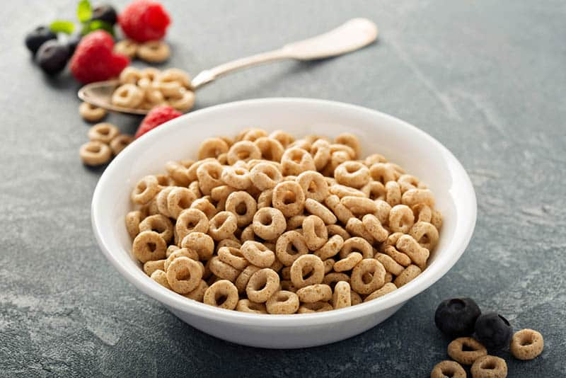 Healthy cold cereal in a white bowl