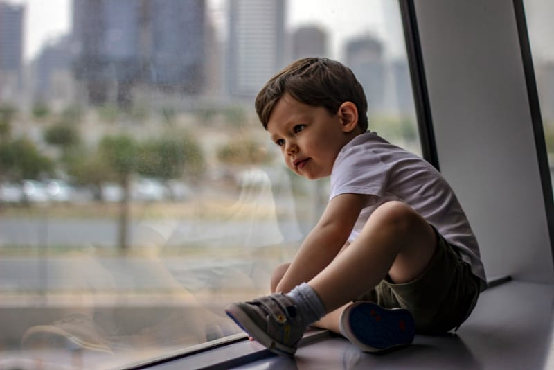 cute little boy sitting near the window at the day time