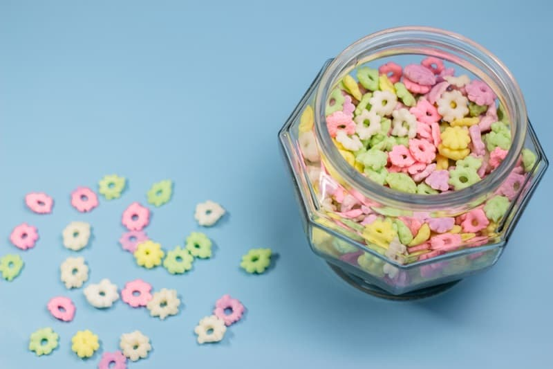colorful rice puffs in a glass jar