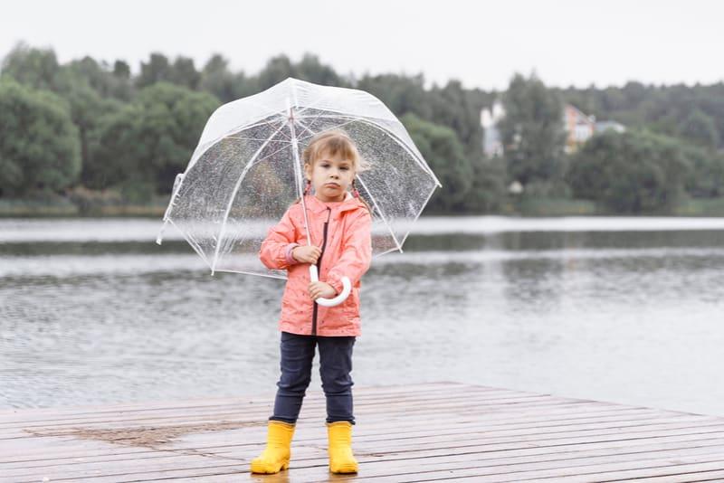 sad little girl in yellow rainboots with umbrella