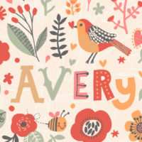 colorful illustration of the name Avery