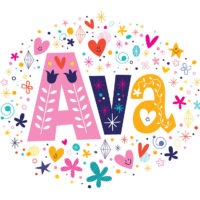 a colorful illustration of the female name Ava