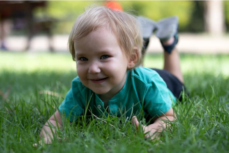Happy child lies on green grass in the park on a sunny day