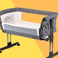 mika micky bassinet in front of a yellow and orange background