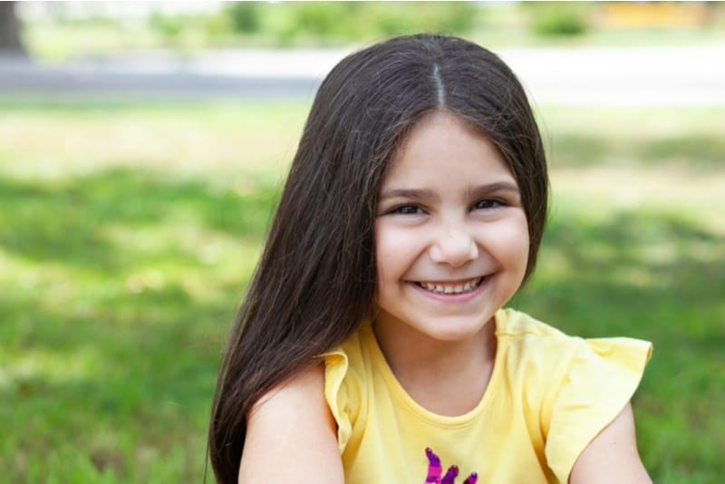 happy smiling child girl outdoor