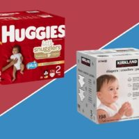 kirkland and huggies diapers side by side