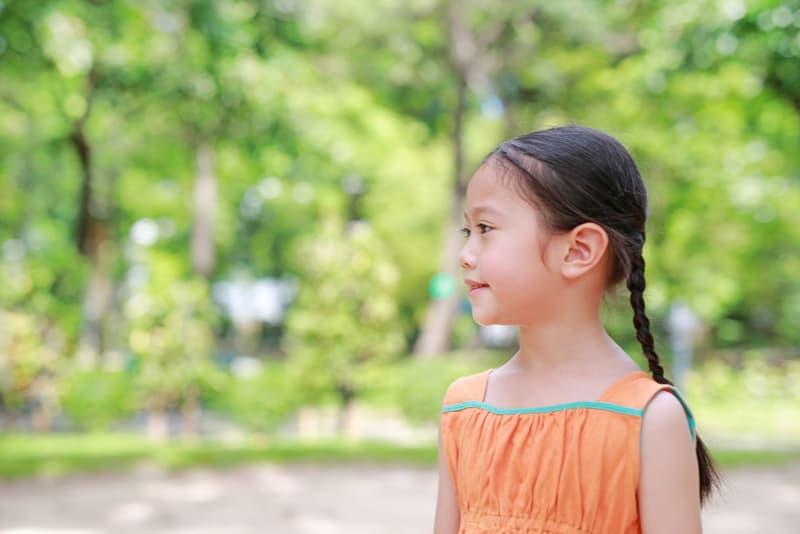 Smiling little child girl outdoors